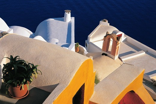 Greece, Cyclades, Santorini Island, Oia village, Roofs of traditional houses : Stock Photo