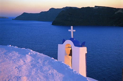 Stock Photo: 196-2524 Greece, Cyclades, Santorini Island, Oia village, Whitewashed bell tower and sea