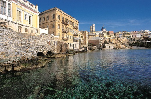 Stock Photo: 196-2550 Greece, Cyclades, Siros, Coastal town