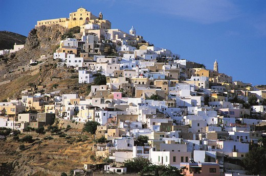 Stock Photo: 196-2551 Greece, Cyclades, Siros, Town on hill