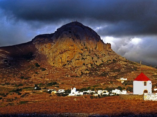 Greece, Cyclades, Tinos island, Xobourgo hill and mill : Stock Photo