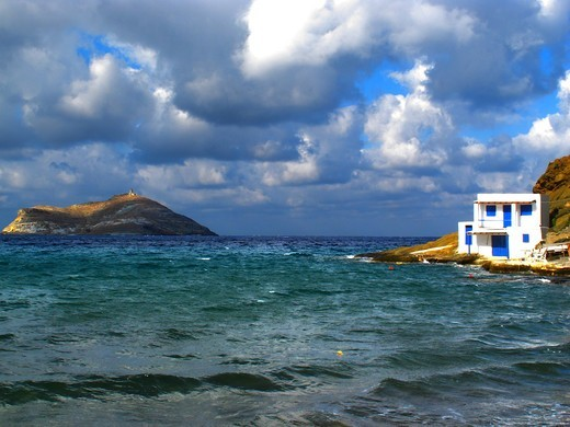 Greece, Cyclades, Tinos island, House on cliff : Stock Photo