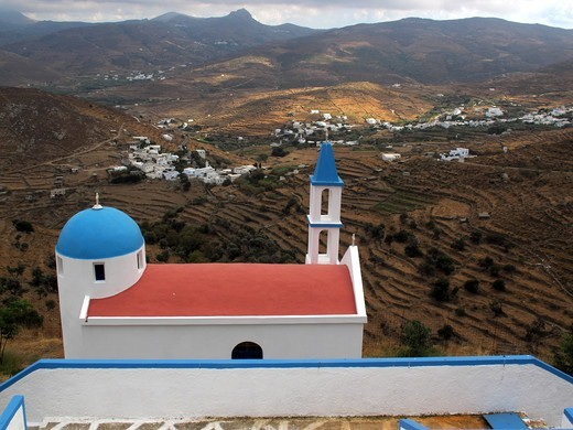 Stock Photo: 196-2579 Greece, Cyclades, Tinos island, Kaloni village, View from church roof