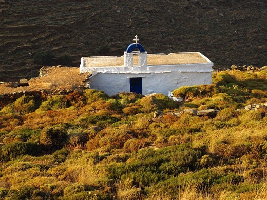 Greece, Cyclades, Tinos island, Chapel on cliff : Stock Photo