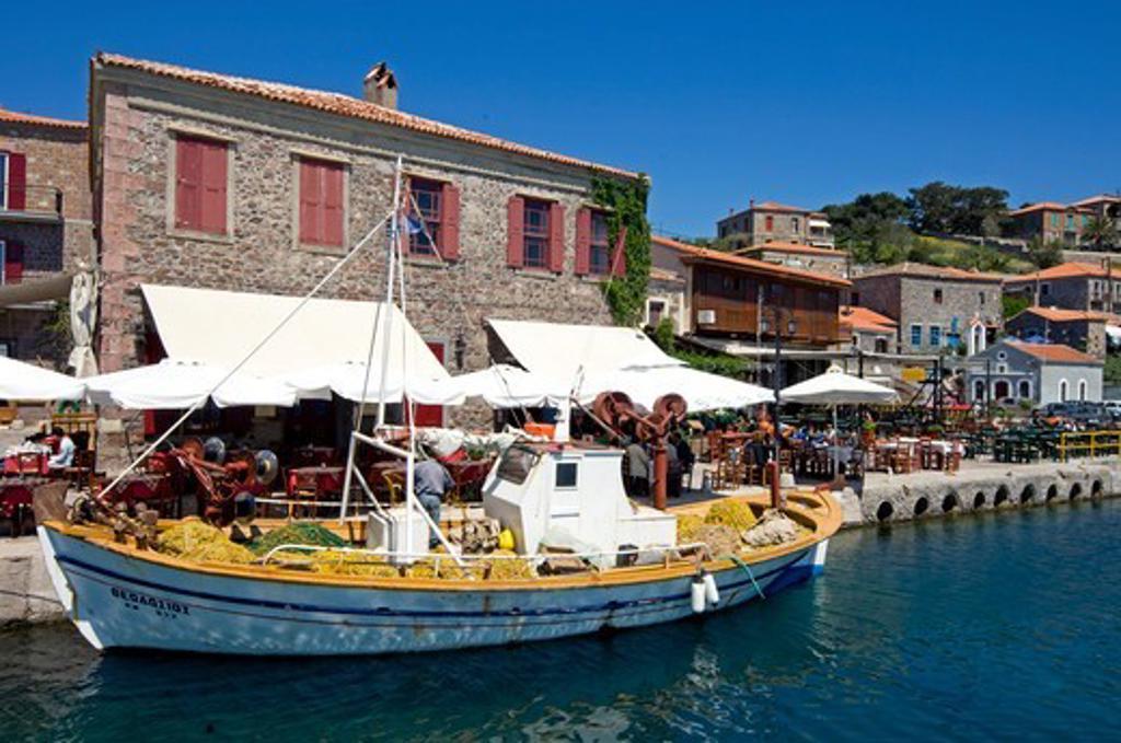 Stock Photo: 196-2601 Greece, Lesvos Molivos village, Boat in harbour
