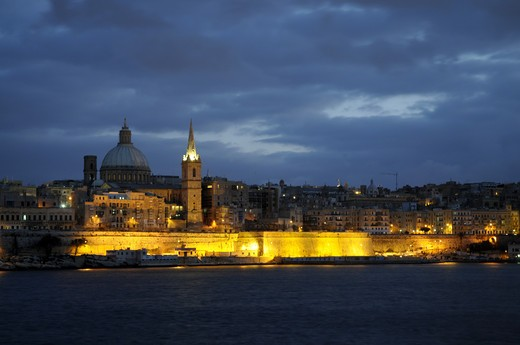 Waterfront At Dusk In Valletta : Stock Photo