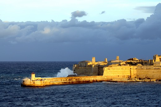 Rough Sea Coming Over The Harbour In Valletta : Stock Photo