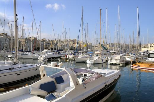 Grand Harbour Marina In Valletta : Stock Photo