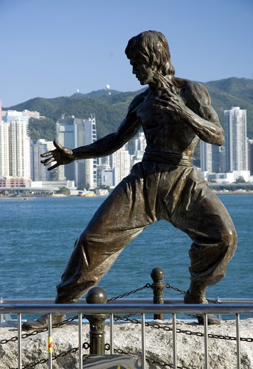Stock Photo: 1963-1661 Bruce Lee Statue, Avenue Of Stars, Tsim Sha Tsui Promenade, Kowloon