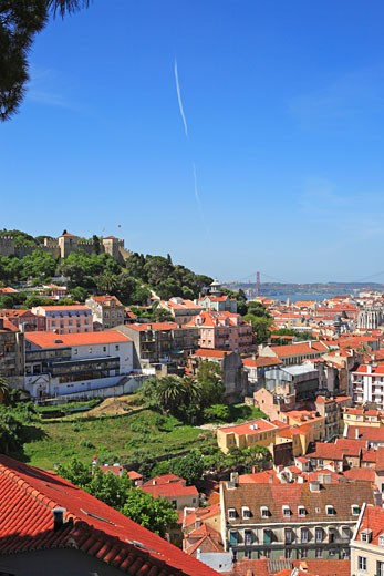 Portugal, Lisbon, View From Esplanda Da Igreja Da Graca : Stock Photo