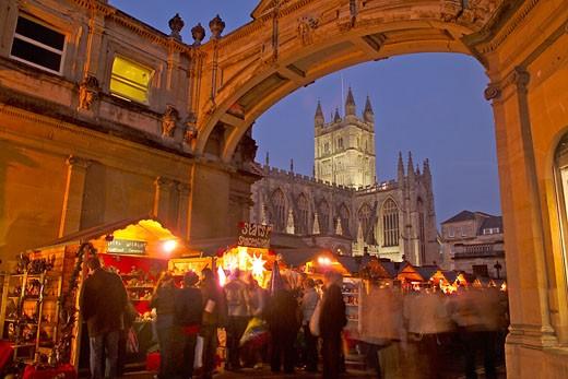 Bath Abbey, Christmas Market : Stock Photo
