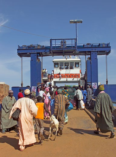 Banjul, Locals Getting On Passenger Ferry : Stock Photo
