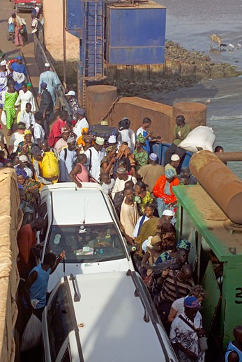 River Gambia, Locals On Ferry Crossing At Barra : Stock Photo