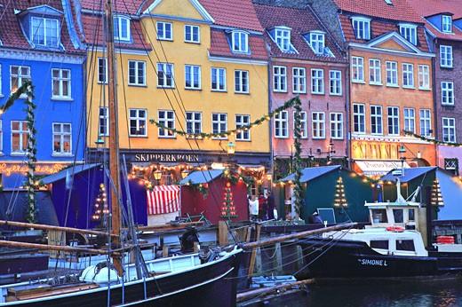 Nyhavn, Christmas Market, Copenhagen : Stock Photo
