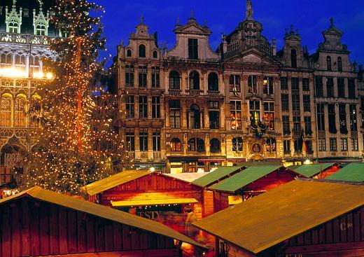 Brussels, Grand Palace, Christmas Market : Stock Photo