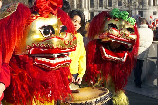 London, China Town, Chinese Lions : Stock Photo