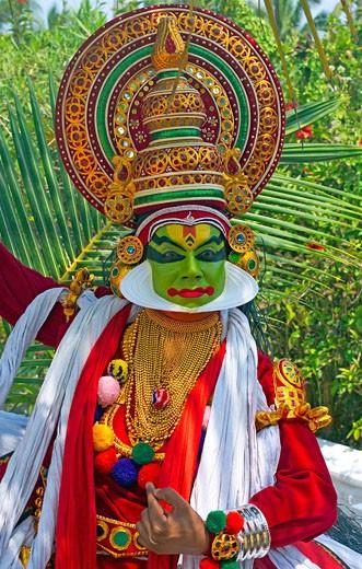 Kerala, Kathakali Dancer Performing : Stock Photo