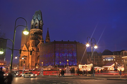 Germany, Berlin, Kaiser Wilhelm Memorial Church, Christmas Market : Stock Photo