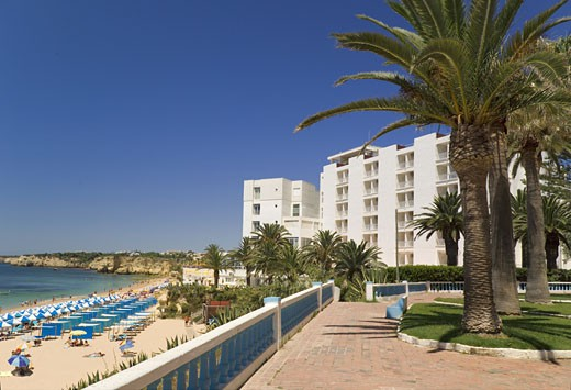 The Algarve, Armarco De Pera, Promenade Gardens And Hotel Garbe With Beach : Stock Photo