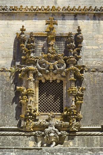 The Ribatejo, Tomar, Manueline Style Window Chapter House Of The Convento Do Cristo : Stock Photo