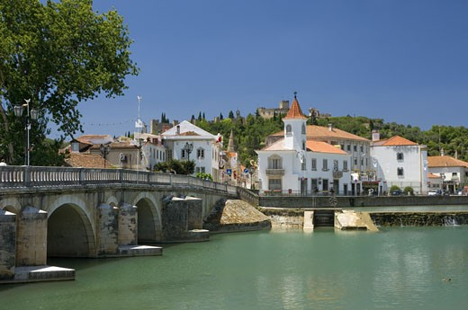 The Ribatejo, Tomar Bridge & Town With The Convento Do Cristo Above : Stock Photo
