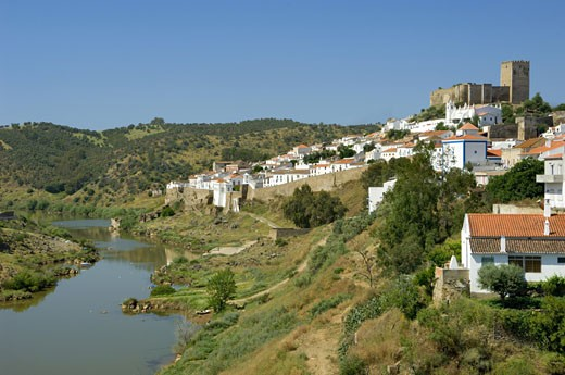 Mertola, View Of Town, Castle & River Guadiana : Stock Photo