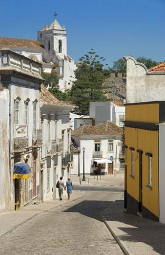 Tavira, Street & Igreja Matriz Church : Stock Photo