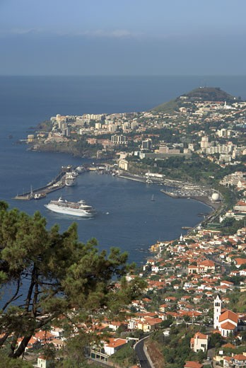 Funchal Town & Harbour, Liner Leaving Harbour : Stock Photo