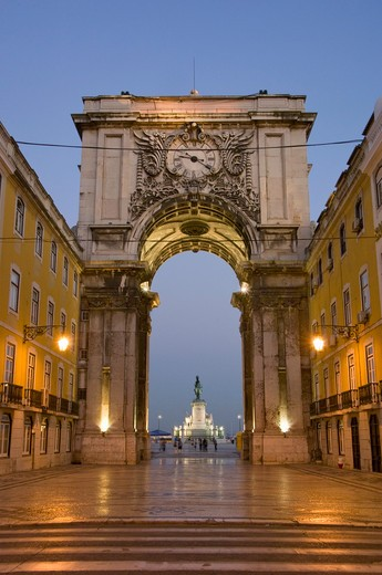 Portugal, Lisbon, The Triumphal Arch At The End Of The Rua Augusta In The Baixa District : Stock Photo