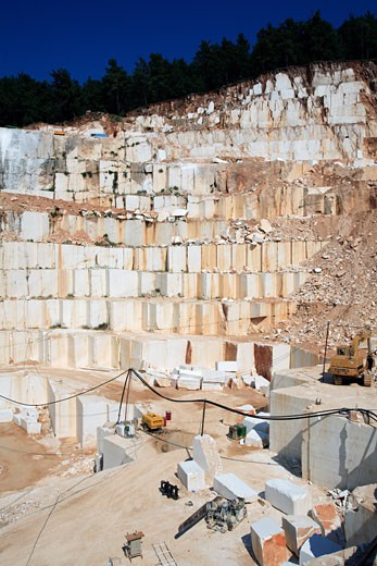 North East Aegean Islands, Thassos, A Marble Quarry In The Hills Behind Limeanas : Stock Photo