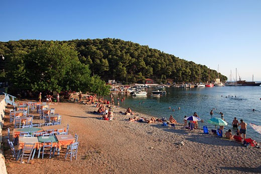 Sporades Skopelos Island A View Of Agnontas Bay And Stoney Beach : Stock Photo