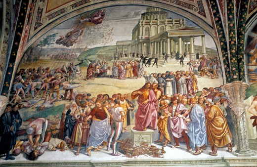 Orvieto Luca Signorelli's Last Judgement Inside The Duomo Or Cathedral : Stock Photo