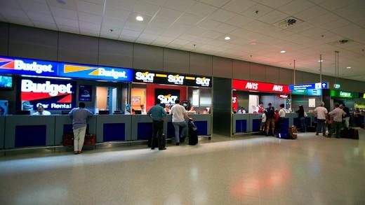 Attica Athens International Airport Eleftherios Venizelos Interior Of The Arrivals Level And Car Hire Desks : Stock Photo