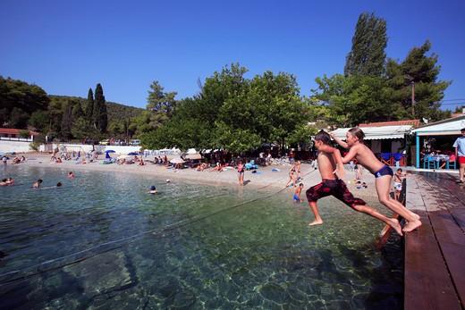 Greece Sporades Skopelos Island A View Of Agnontas Bay And Stoney Beach : Stock Photo