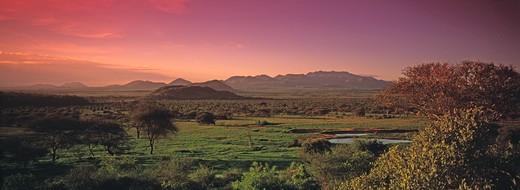 Tsavo West, Kilagni Lodge, Sunset : Stock Photo