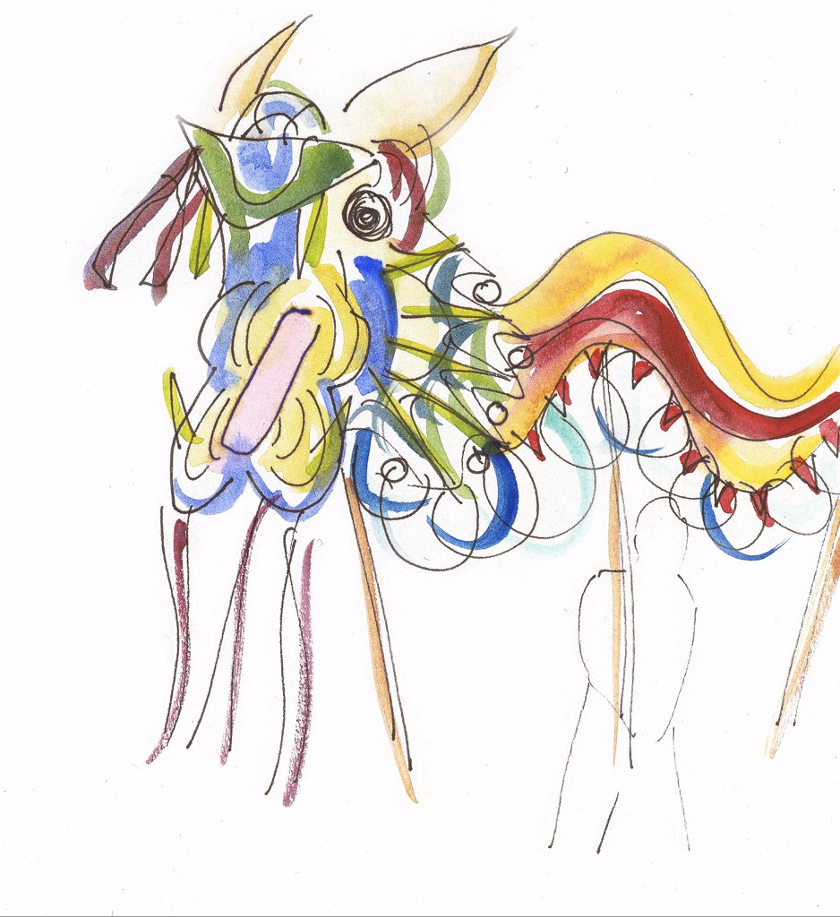 Stock Photo: 1973-108 Dragon by Betty Mallorca, watercolor painting