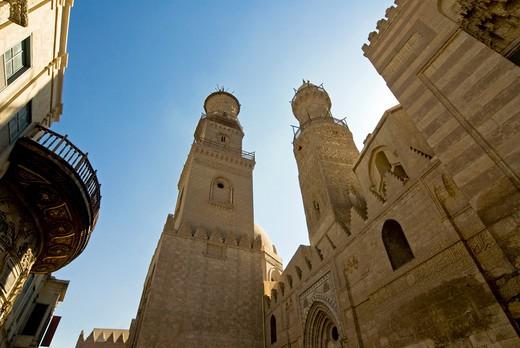 Minarets of Sultan Bu Nassir Mosque, Khan El Khalili, Cairo, Egypt : Stock Photo