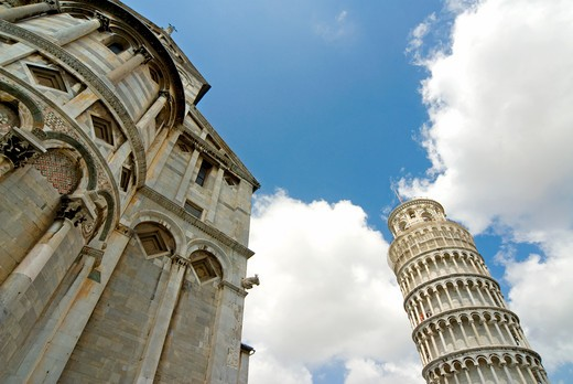 The Leaning Tower of Pisa and the Cathedral, Pisa, Italy : Stock Photo
