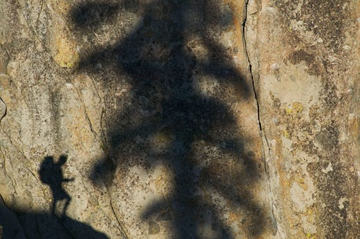 A man hiking next to his shadow : Stock Photo