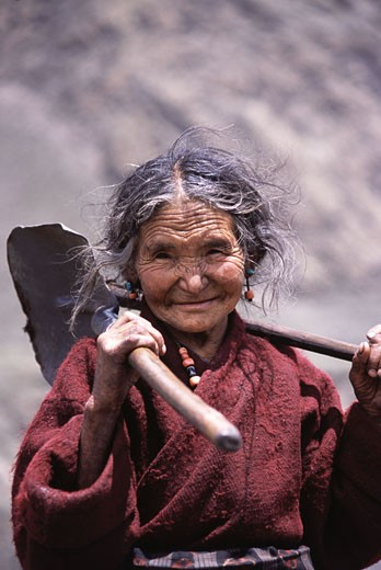 A Tibetan woman in Samagaon village in Nepal : Stock Photo