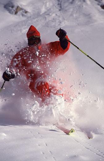 A man skiing powder at Snowbird UT : Stock Photo