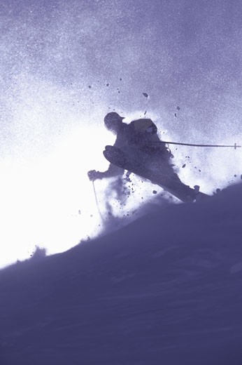 A man skiing powder at Sugar Bowl CA : Stock Photo