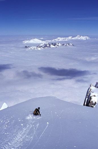 A man skiing powder snow at Chamonix France : Stock Photo