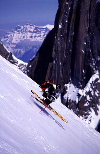 A man skiing in Chamonix France : Stock Photo