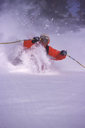 Stock Photo: 1989-2246 A man skiing powder snow in the Utah backcountry