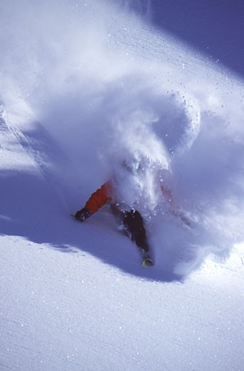 A man skiing powder in the Chugach Mountains AK : Stock Photo