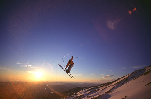 Stock Photo: 1989-2444 A man jumping while skiing at Mount Hood OR