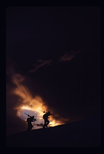Stock Photo: 1989-2518 Two men hiking while skiing on Mount Hood OR