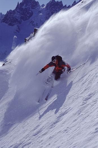 A man skiing powder snow in Chamonix France : Stock Photo