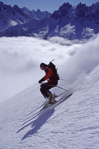 A man skiing powder snow in Chamonix France : Stock Photo